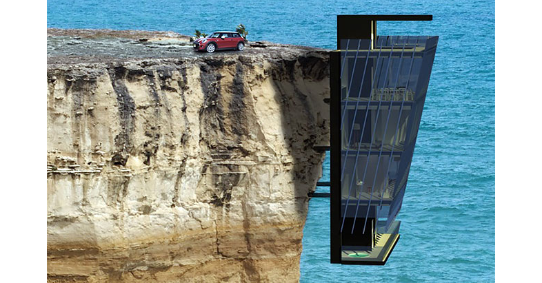 Cliff House, House, Architecture, Design, George Sturges House, Building, Architect, Cliff, Modern architecture, Architectural firm, house perched on a cliff, Cliff, Water, Sea, Rock, Coastal and oceanic landforms, Terrain, Klippe, Coast, Formation, Vehicle