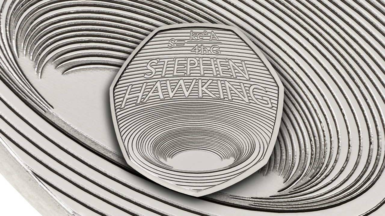 The Royal Mint, Fifty pence, Hawking and Black Holes the Big Idea, Coin, , Mint, Black hole, Physicist, Commemorative coin, Science, monochrome photography, Monochrome, Black-and-white, Circle, Line, Pattern, Spiral, Design, Symmetry, Monochrome photography, Parallel