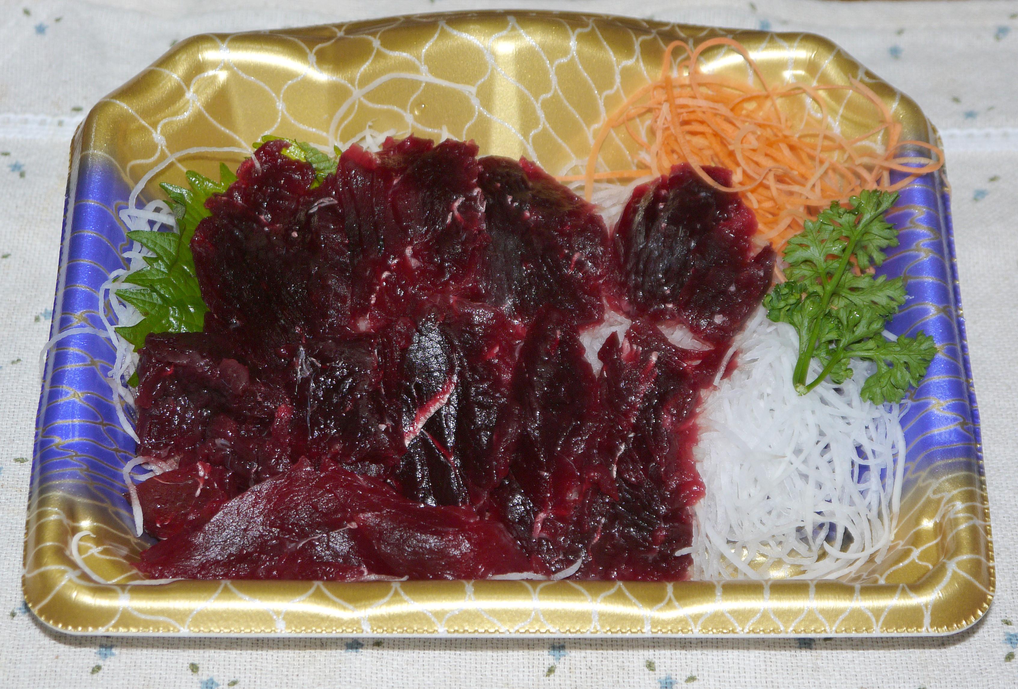 Japanese Sashimi of Whale meat.jpg