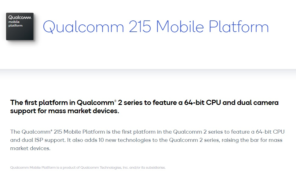 高通入門手機平台增添 64 位元的 Qualcomm 215 平台,即是原本 Snapdragon 425 下放而來
