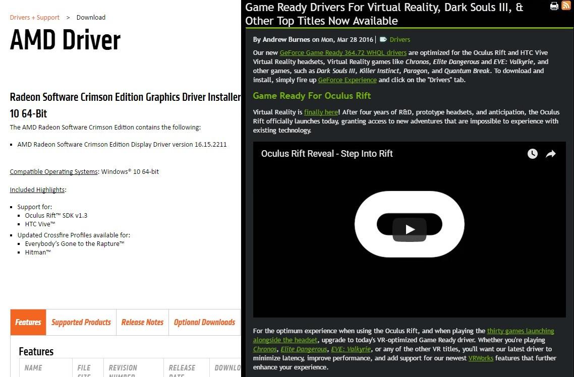 是迎接 Rift 、 Vive 到來, AMD 與 NVIDIA 宣布推出全新顯示卡驅動程式這篇文章的首圖