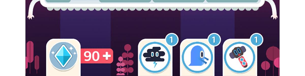 ▲左邊的是閃電雲,深紫色閃電方塊附近的方塊會被消除;中間的是小惡魔可以消除同色系方塊;右邊的的鐵鎚可以把比較方塊切成一小塊一小塊方便補齊。